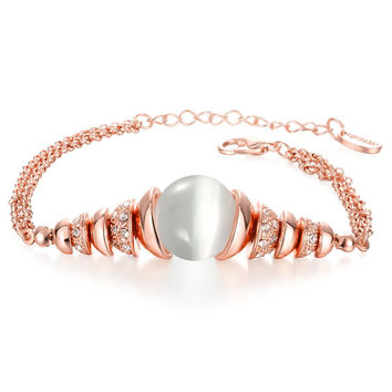18K Rose Gold Bracelet with Ivory Centerpiece with Swarovski Elements