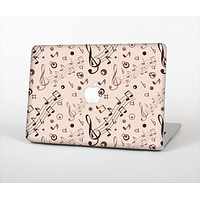 The Tan Music Note Pattern Skin Set for the Apple MacBook Air 11""