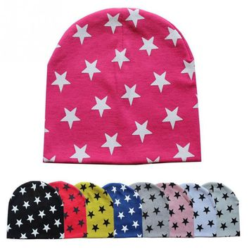 Kids Winter Warm Sports Cap Toddler Infant Outdoor Crochet Knit Hat Baby Outfitting Star Print Beanie Caps