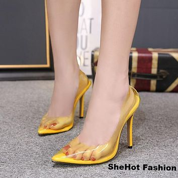 Women Casual Fashion Transparent Pointed Toe High Heel Shoes