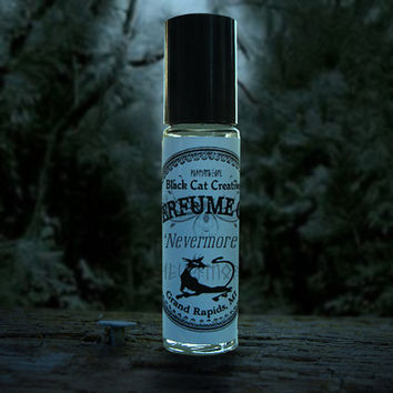 NEVERMORE Perfume Oil - Rose, Patchouli, Vanilla, Sandalwood, White Musk - Seductive Perfume by Black Cat Creatives