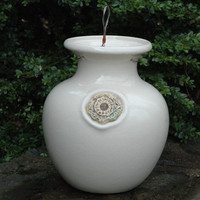 Glazed Down Under Pots - IVORY CRACKLE DOWN UNDER POT
