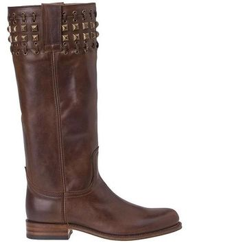 Sendra Chocolate Leather Studded Boots