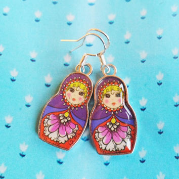 FREE SHIPPING! Whimsical Russian nesting doll earrings with sterling silver hooks, 4 choises, bohemian matryoshka, kitsch Selma Dreams