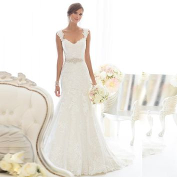 W3234 Cheap Mermaid Lace Wedding Dresses 2015 Sexy V Neck With Remove Cap Sleeves Floor Length Elegant Bridal Gowns