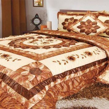 DaDa Bedding Autumn Sunflower Medallion Ruffles Bedspread Comforter Set, Twin, 3-PCS (BM6134L)