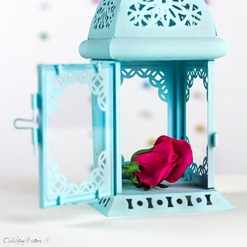 Candle Holder Lantern Unique Vintage Scheherazade Exotic Moroccan Decor Filigree Pastel Blue Beach Wedding