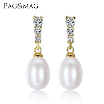 PAG&MAG Brand Classic Small Stud Earrings AAAAA Freshwater 8-9mm Natural Pearl S925 Silver Stud Fashion Earrings Box Free