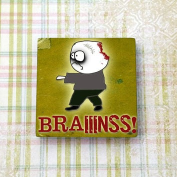 Zombie Brains Square Ceramic Tile Refrigerator Fridge Magnet Cubicle or Dorm Decor 2 Inches With Rare Earth Magnet
