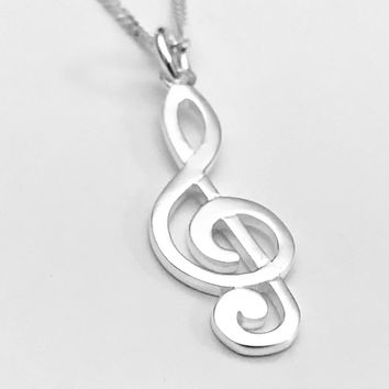 Musical Necklace, G Clef Necklace, Musicians Necklace, Musical Jewelry, Sterling Silver Musical Note Necklace, Gifts for Her, Gifts for Him
