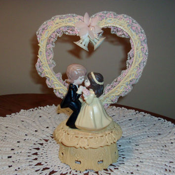 Vintage Wedding Cake Topper Plastic Heart/ Pink and White Lace
