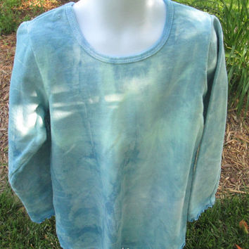 Girls sky blue and green machine washable, Long sleeve shirt, Shibori pattern, 100% cotton, 10 size, ruffle edges at sleeves and hem.