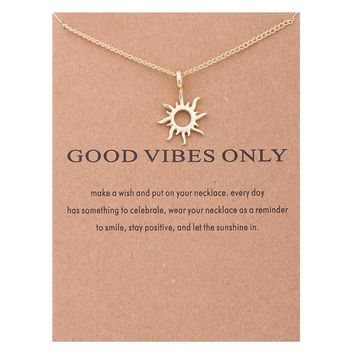 Sun Card Alloy Clavicle Pendant Necklace   171212