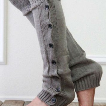 Retro Gray Lace And Button Decorated Knitted Leg Warmers