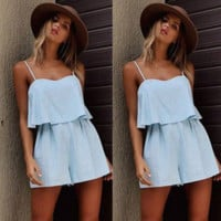 sleeveless pure color strap jumpsuits