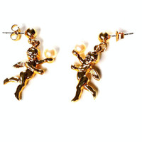 Vintage Cupid Earrings , Angel Earrings , Post Earrings , Flying Cherubs Holding Pearls , Gold Cupid