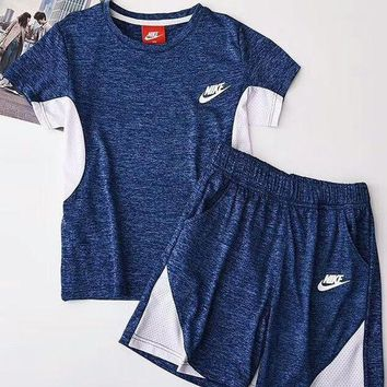 Gotopfashion NIKE Hot Sale Contrast Show Body Sports Two Piece Suit Summer Suit B-AA-XDD Dark Blue