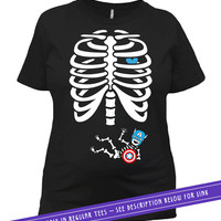 Pregnant Skeleton Shirt Skeleton Costume Baby Announcement T Shirt Pregnancy Reveal Maternity Wear Expectant Mother Ladies Tee MAT-57