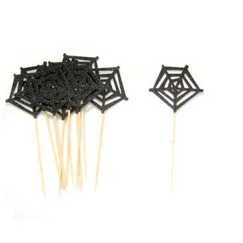 12 Black Spider Web Cupcake Toppers  -  Glitter Cupcake Topper, Halloween Cupcake Toppers, Halloween Party, Halloween Decorations