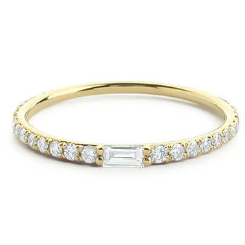 Baguette and Round Diamond Band in 14k Gold / Baguette Band / Baguette Wedding Ring / Anniversary Gift / Stacking Ring