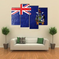 South Georgia And South Sandwich Island Flag Multi Panel Canvas Wall Art