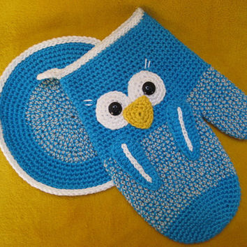 Crochet Pattern Owl Oven Glove Potholder Mitts PDF Kitchen Decor