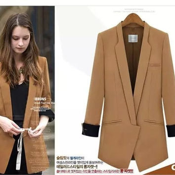 2016 ladies blaser single button solid blazer women blazers and jackets blazer feminino suit jacket plus size