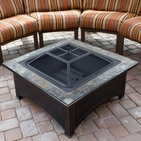Hiland Square Slate Top Wood Burning Fire Pit - Walmart.com