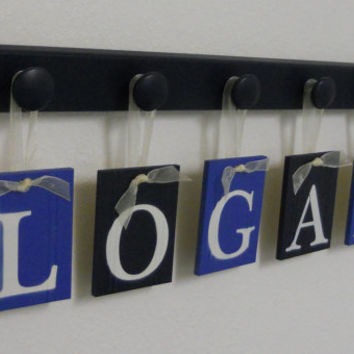 Navy with Blue Nursery Wall Decor Set includes Baby Boy Name LOGAN and 5 Wooden Pegs Navy