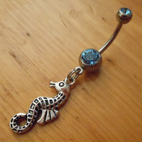 Belly Button Ring  Seahorse Belly Ring by ChelseaJewels on Etsy