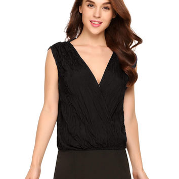 Deep V-Neck Sleeveless Faux Wrap Draped Elastic Hem Tops