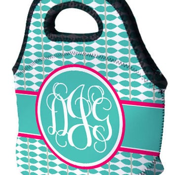 Lunch Tote - Vine Turquoise, Grey & Pink