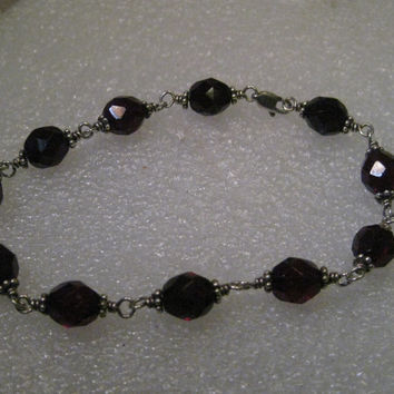 """Vintage Silver Deep Red Beaded Bracelet, 8"""", Gothic to Boho"""