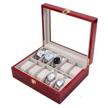 10 Slot Cherry Wood Watch Display Case Glass Top Jewelry Storage Box Gifts