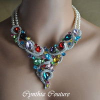 Bridal Jewelry Set,Bridal Statement Necklace,Multi Color Rhinestone Necklace,Swarovski Crystal Pearl,Bridal Necklace and Earring Set