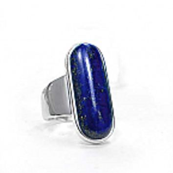 Sterling Silver and Lapis Lazuli Long Bar Ring
