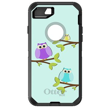 DistinctInk™ OtterBox Defender Series Case for Apple iPhone / Samsung Galaxy / Google Pixel - Blue Purple Yellow Owls
