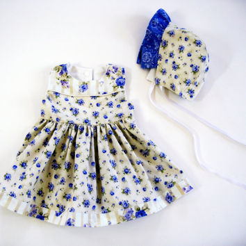 Baby girl dress with matching baby bonnet infant outfit 6/9 months sunday best 6 to 9 months summer dress sleeveless blue dress baby shower