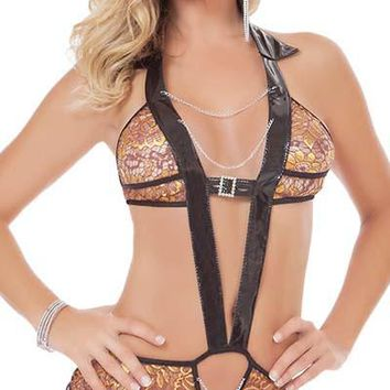 Trimmed in Vinyl Halterneck Lace and Chain Plunge Teddy