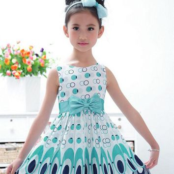New Kids Girls Bow Belt Sleeveless Bubble Peacock Dress Party Clothing