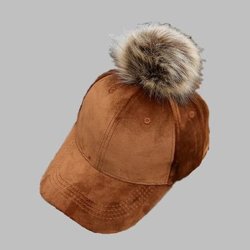 Trendy Winter Jacket Unisex velvet Baseball Hat Women Men Faux Buckskin Pom Pom Ball Adjustable Baseball Cap Candy Color Winter Autumn Suede hip hop AT_92_12