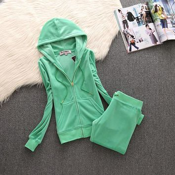 Juicy Couture Simple Pure Color Velour Tracksuit 611 2pcs Women Suits Green