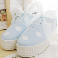 Japanese kawaii clouds hand-painted canvas platform shoes