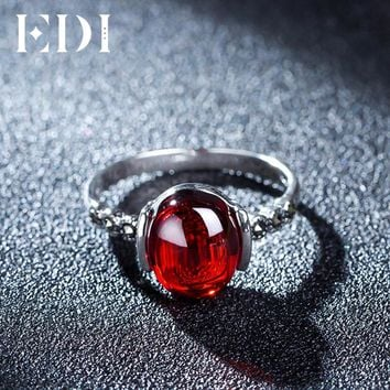 EDI 4 Color 1.2ct Garnet Natural Chalcedony Rings 925 Sterling Silver For Women Sterling-silver-jewelry Best Fine Jewelry Gift