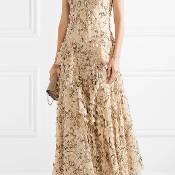 Zimmermann - Maples Whisper appliquéd printed silk-georgette midi dress