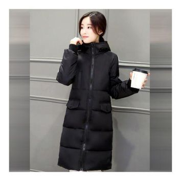 Simple Hooded Long Thick Plus Size Woman Down Coat   black