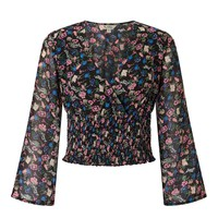 Ditsy Angel Sleeve Shirred Crop Top - View All - Sale
