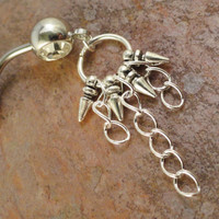 Spike Stud and Chains Belly Button Jewelry RIng