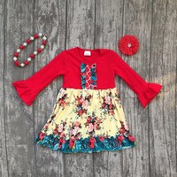 Girl's Floral Pattern Red Boutique Dress Size 5