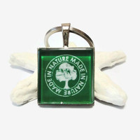 Made in nature green, white tree, 1 inch square, glass tile keychain or necklace, unisex gift, men, eco awareness